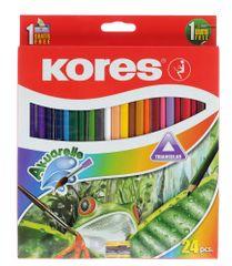 Pastelky Kores trojhranné akvarelové 24 ks s ořezávátkem a štětcem