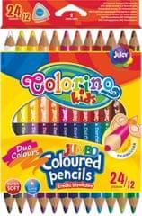 Pastelky trojhranné Colorino JUMBO oboustranné 12 ks, 24 barev