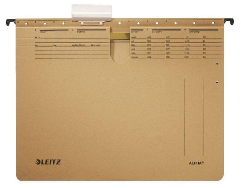 Leitz Závěsné desky ALPHA hnědé s rychlovazačem
