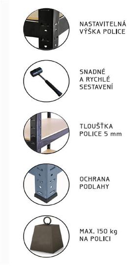 J.A.D. TOOLS Policový regál kovový 70x30x150 cm HOBBY (ZD3012)