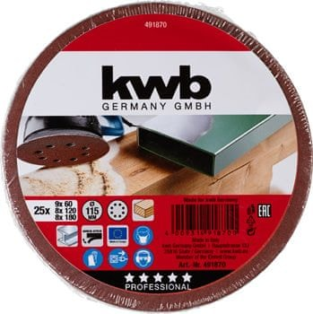 KWB samolepilni brusni papir za les in kovino, 25 kosov različne granulacije (491870)