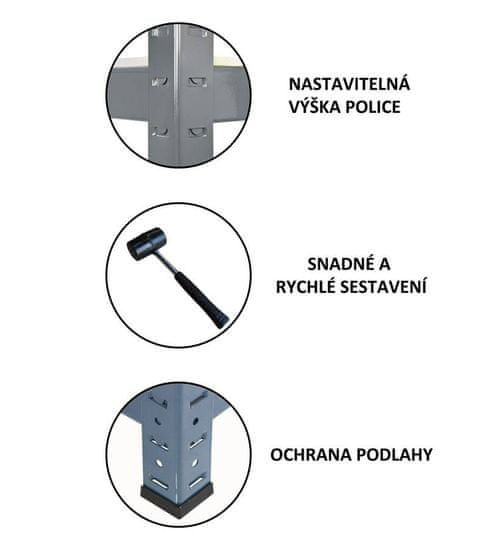 J.A.D. TOOLS Policový regál kovový HEAVY DUTY T12060