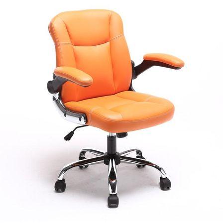Kancelárske kreslo, ekokoža oranžová+kovová podstava+plastové podrúčky, GARED