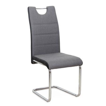 Stolička, ekokoža čierna/tmavosivá látka + chróm, IZMA