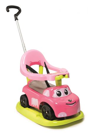 Smoby otroški elektronski avtomobil z zibalko, roza