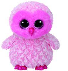 TY igrača Beanie Boos TWIGGY - roza sovica, 24 cm