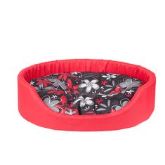 Argi owalne legowisko dla psa z poduszką, czerwone ze wzorem