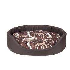 Argi owalne legowisko dla psa z poduszką, brązowe ze wzorem