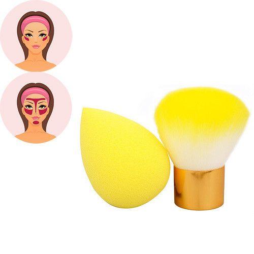 Sefiros Žlutý set pudrovacího štětce a houbičky na make-up Pastell (Kabuki Brush & Blender)