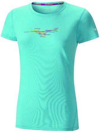 Mizuno ženska vadbena majica Imp Core Graphic Tee Blue Atoll Mel S, modra