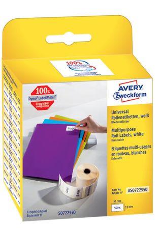 Avery Zweckform večnamenske etikete AS0722550, za Dymo termalne tiskalnike, 19 x 51 mm