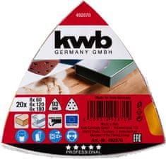 KWB samolepilni trikotni brusni papir za les in kovino, 20 kosov različne granulacije (492870)