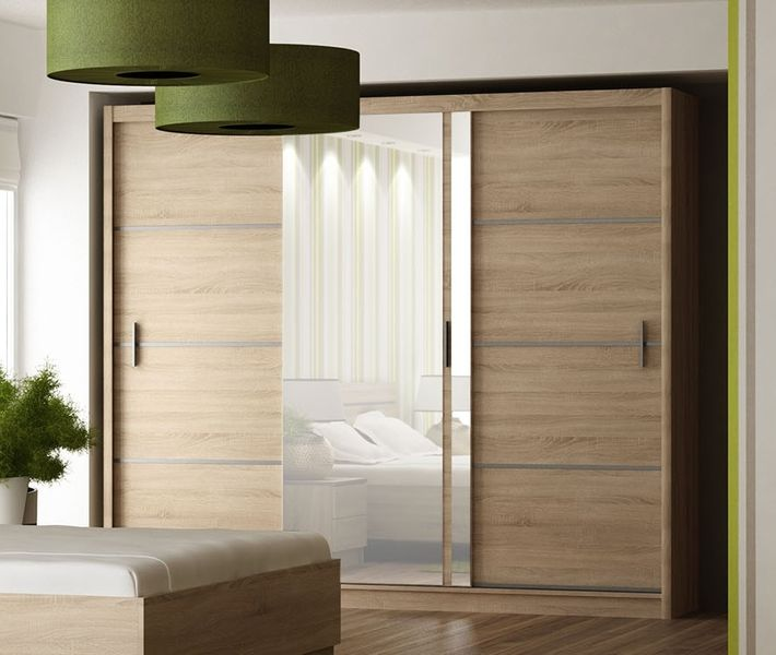 Šatní skříň s posuvnými dveřmi VISTA 250, dub sonoma