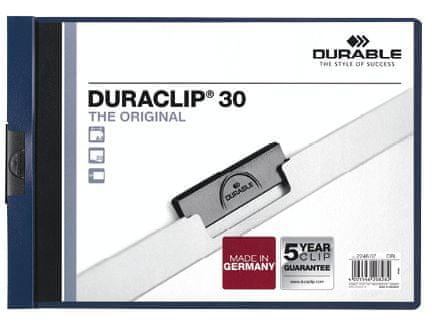 Desky DURACLIP A4/30 na šířku tm. modré