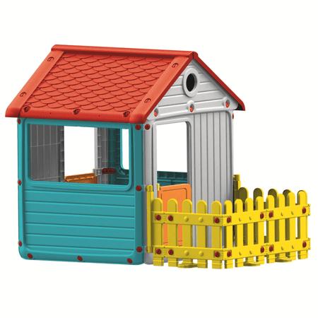 DOLU Detský záhradný domček s plotom, plastový, modrý