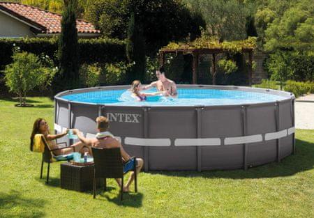 Intex bazen Ultra Frame, 488 x 122 cm, s filter črpalko, lestev, podlaga, pokrivalo (26322NP)