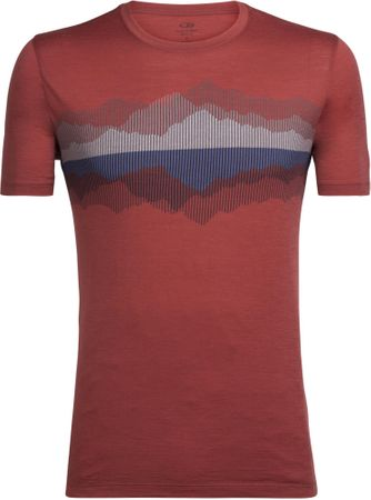 Icebreaker moška majica s kratkim rokavom Mens Tech Lite SS Crewe Cook Reflected Vintage Red, M, rdeča