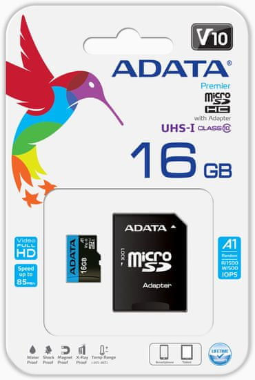 A-Data karta pamięci MicroSDHC 16GB UHS-I 85/20MB/s + adapter SD (AUSDH16GUICL10A1-RA1)