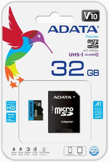 A-Data Premier MicroSDHC spominska kartica, 32 GB, UHS1, A1 + SD adapter