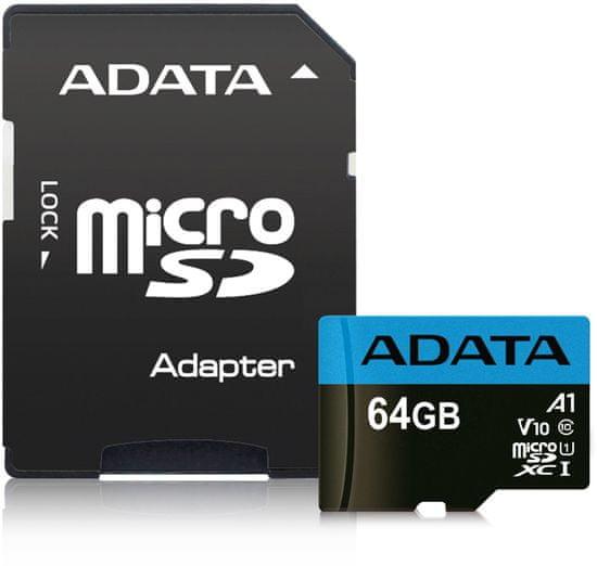 A-Data Premier MicroSDHC spominska kartica, 64 GB, UHS1, A1 + SD adapter