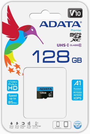 A-Data spominska kartica, Premier microSDXC 128GB UHS-I Class10 + adapter