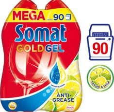 Somat Gold gel Anti-Grease Lemon 2x 900 ml (90 pranj)