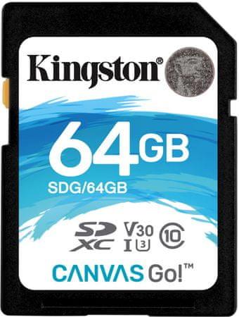 Kingston memorijska kartica microSDXC 64GB Canvas Go!, 90MB/45MB/s, UHS-I Speed Class 3 (U3)