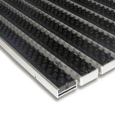 FLOMAT Černá hliníková kartáčová venkovní vstupní rohož Alu Super, FLOMAT - 1,7 cm