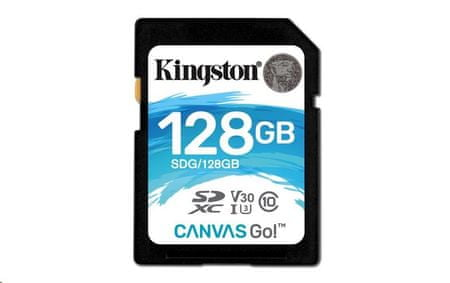 Kingston spominska kartica SDXC Canvas Go 128GB, 90MB/45MB/s, UHS-I Speed Class 3 (U3)