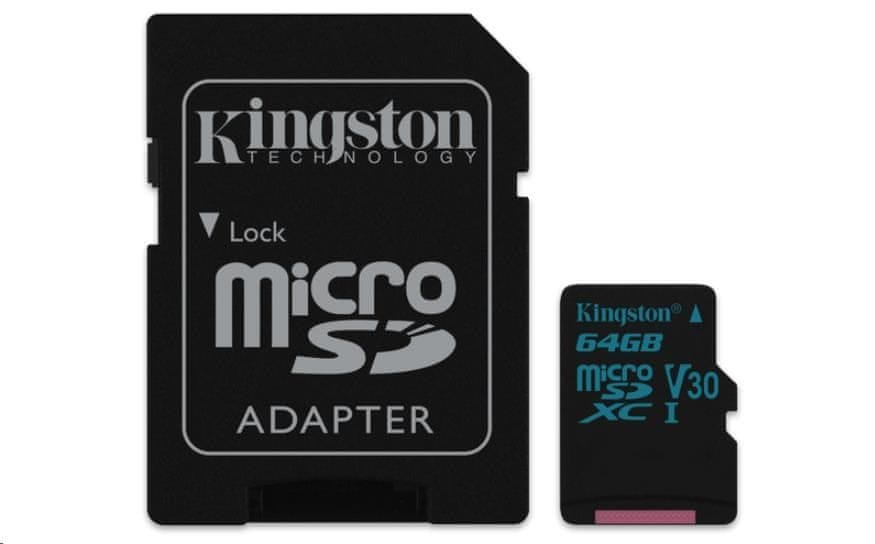 Kingston 64GB Canvas Go! micro SDXC UHS-I U3 + ad (SDCG2/64GB)