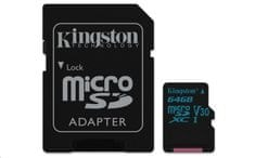 Kingston memorijska kartica 64GB Canvas Go! micro SDXC UHS-I U3 + adapter
