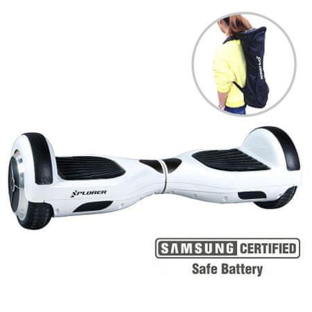 Xplorer skuter rolka Hoverboard City V3, 16,5 cm, bela
