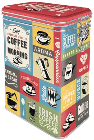 Postershop kovinska doza s pokrovom Coffee