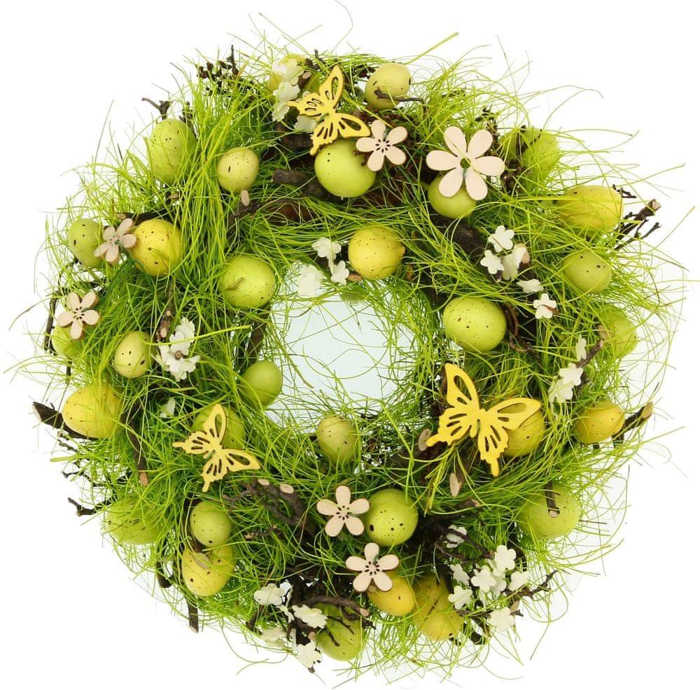 Seizis Velikonoční věnec s motýlky 27 cm, žlutý