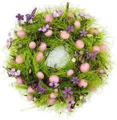 Seizis Velikonoční věnec s motýlky 27 cm, růžový