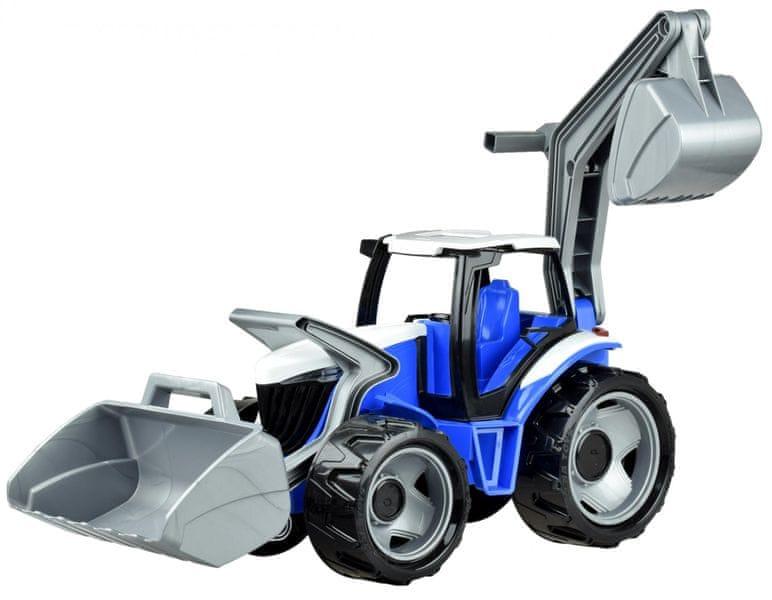 LENA Traktor se lžící a bagrem modro šedý