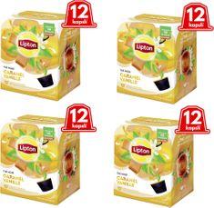 Lipton Černý aromatizovaný čaj Vanilka a karamel 4x12 kapslí 33,6g