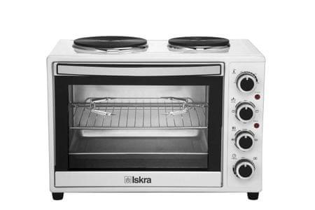 Iskra mini pečica s kuhalnima ploščama HL38RCT, bela