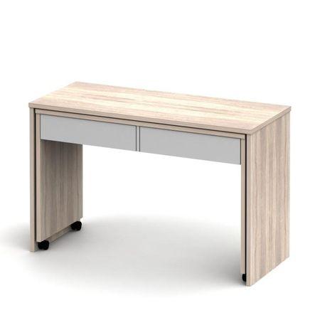 Rozkladací PC stôl so šuplíkmi, dub sonoma/biela, VERSAL NEW