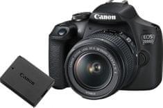 Canon EOS 2000D + 18-55 IS + LP-E10 (2728C010AA) + Cashback 1200 Kč + 500 Kč na fotoslužby