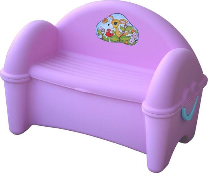 Marian Plast Dětská lavice s úložným prostorem - fialová