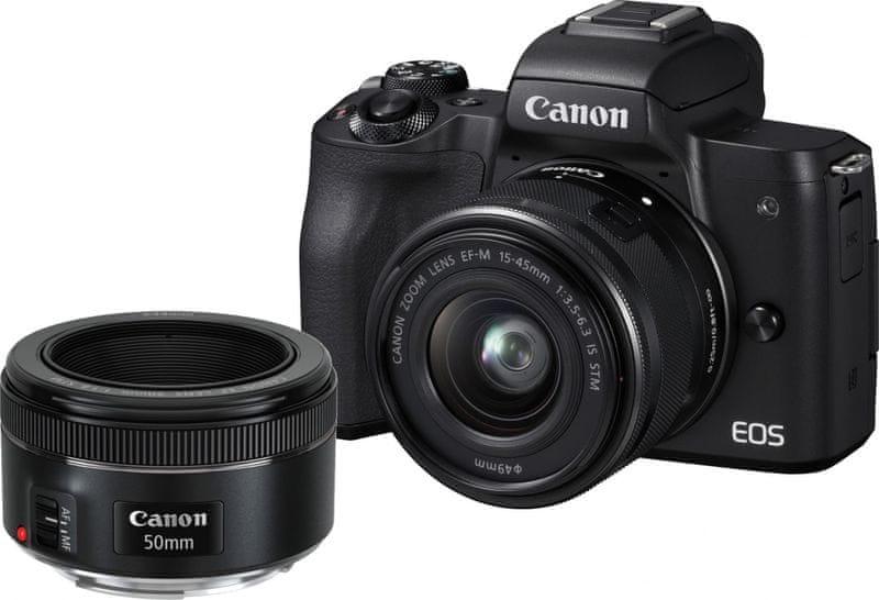 Canon EOS M50 + 15-45 + 50 F1,8 + adaptér EF-EOS M (2680C061)