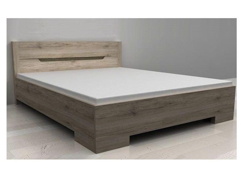 BOX postel 160 x 200 cm se šuplíkem, dub sonoma tmavý