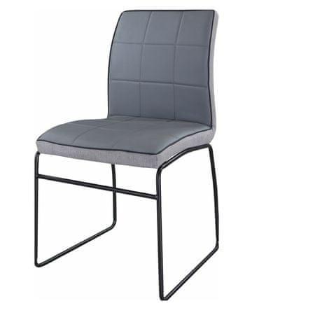 Jedálenská stolička, sivá ekokoža/kov, DEVORA