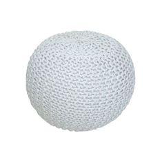 KONDELA Gobi Typ 1 pletená taburetka smotanová / biela melírovaná
