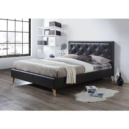 Manželská posteľ, tmavohnedá ekokoža, 160x200, PUFFIE