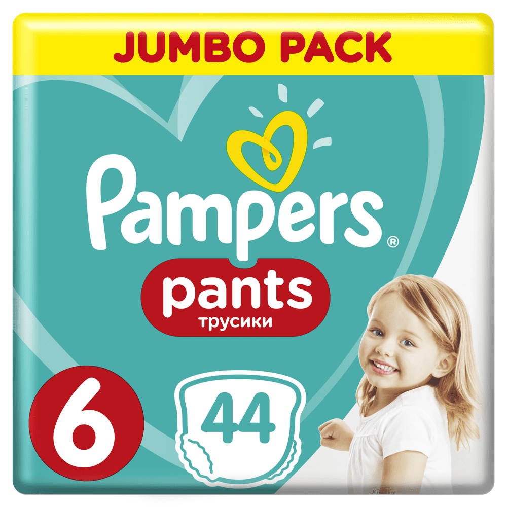 Pampers Plenkové kalhotky Pants 6 Extra Large (15+ kg) Jumbo Pack 44 ks