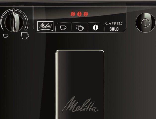 Automatický kávovar Melitta Solo Ryze černá systém extrakce aroma 2 šálky najednou nastavitelná výška trysky kompaktní rozměry
