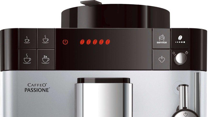Automatický kávovar Melitta Passione Stříbrná systém extrakce aroma safe bean to cup 2 šálky najednou nastavitelná výška trysky kompaktní rozměry parní tryska pro napěnění mléka