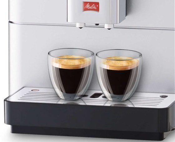 Automatický kávovar Melitta Passione Stříbrná 2 šálky najednou výškově nastavitelná tryska kompaktní rozměry